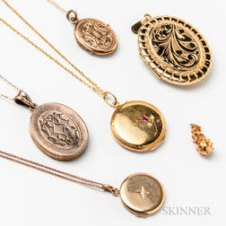Two 14kt Gold Lockets and Four Gold-filled Lockets