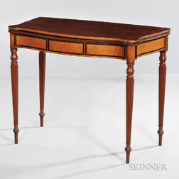 Federal Mahogany and Bird's-eye Maple Veneer Inlaid Card Table