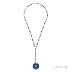 Edwardian 18kt Gold and Enamel Open-face Pendant Watch and Gold and Sapphire Watch Chain