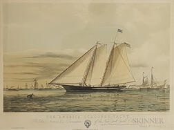 "Framed Ackermann Print The ""America,"" Schooner Yacht"