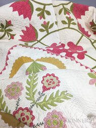 Appliqued Cotton Floral Quilt and Crib Quilt