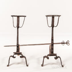 Pair of 17th Century European Wrought Iron Andirons and a Skewer