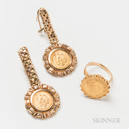 14kt Gold and Peso Ring and Pair of Earpendants