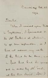 Longfellow, Henry Wadsworth (1807-1882) Autograph Letter Signed, 28 October 1872.