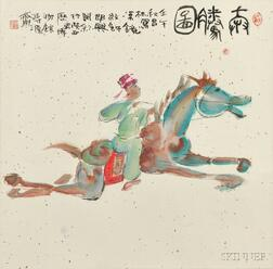 Painting Depicting a Man Riding a Horse