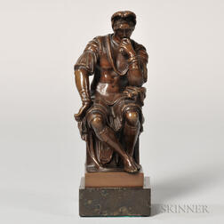 After Michelangelo (Italian, 1475-1564)    Bronze Figure of Lorenzo from the Medici Tomb