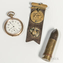 U.S. Marine Corps Pocket Watch, Lighter, and Medal