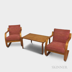 Two Alvar Aalto-style Birch Chairs and Table