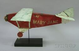 """Painted Sheet Copper Airplane """"The Mary Jane,"""""""