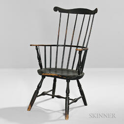 Black-painted Comb-back Windsor Armchair