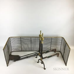 Pair of Brass and Iron Urn-top Knife-blade Andirons, a Shovel, Tongs, and Firescreen.