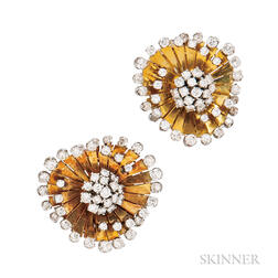 18kt Gold and Platinum and Diamond Earrings