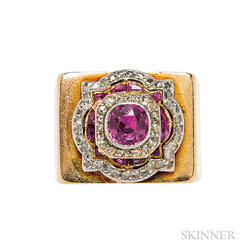 Platinum, Gold, Pink Sapphire, and Diamond Ring