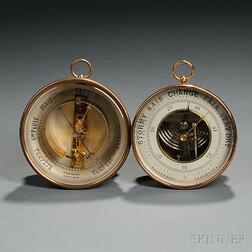 Two French Brass Aneroid Barometers