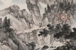 Hand Scroll Depicting a Mountain Landscape