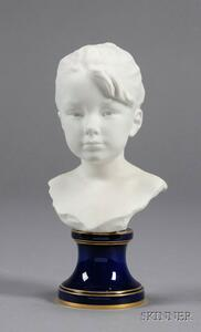 Sevres White Bisque Bust of a Young Girl