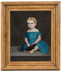 American School, 19th Century      Portrait of a Child with a Black Kitten
