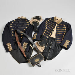 Two Militia Coatees, Epaulets, and a Cartridge Box