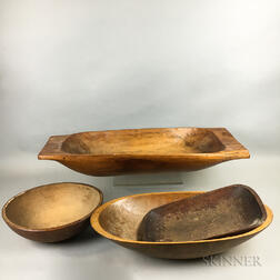 Turned Maple Bowl and Three Trenchers