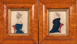Attributed to J.M. Crowley (American, 19th Century)      Pair of Miniature Portraits of a Man and Woman