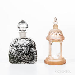 Two French Frosted Glass Perfumes