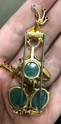 "14kt Gold, Emerald, Diamond, and Ruby ""Raja Playing Lute"" Brooch, Van Cleef & Arpels"