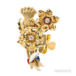18kt Gold, Enamel, and Diamond Bouquet Clip Brooch, Cartier