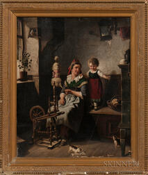 Dutch School, 19th Century      A Playful Pause at the Spinning Wheel