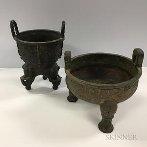 Two Archaic-style Tripod Bronze Censers