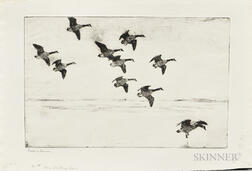 Frank Weston Benson (American, 1862-1951)      Three Impressions of Geese Drifting Down