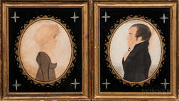 Edwin Plummer (Massachusetts, c. 1802-1880)      Portraits of a Man and Woman