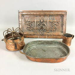 Three Copper Tableware Items and a Cast Metal Plaque