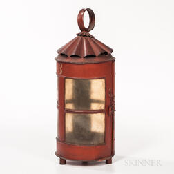Red-painted Fire Company Lantern