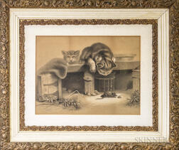 Framed Charcoal Drawing of Kittens and a Mouse
