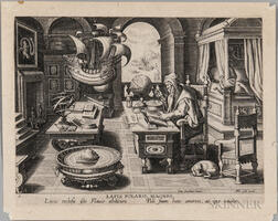 Lapis Polaris Magnes  , an Engraving from Jan van der Straet and Philippe Galle's Nova Reperta.