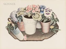 Grant Wood (American, 1891-1942)      Two Still Lifes: Tame Flowers