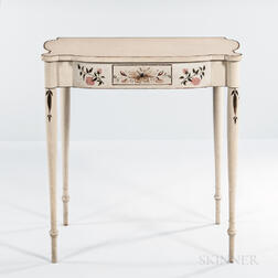 White-painted Floral-decorated Dressing Table