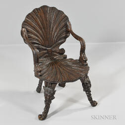 Continental Carved Walnut Grotto Chair