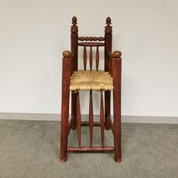 Early-style Red-stained Maple High Chair