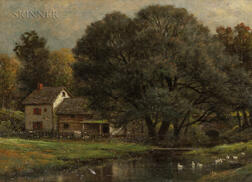 James Brade Sword (American, 1839-1915)      Pastoral View of a House and Stream