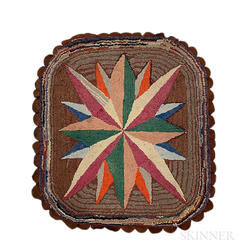 """Hooked Rug with """"Compass Star"""" Design"""