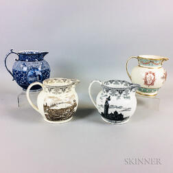 Four Wedgwood Transfer-decorated Ceramic Jugs