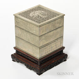 Three-tiered Square Metal Censer and Cover