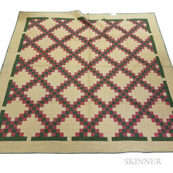 "Appliqued Cotton ""Double Irish Chain"" Mennonite Quilt"