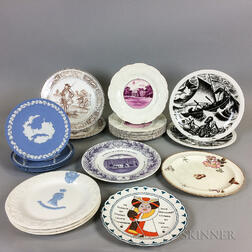 Nineteen Wedgwood Transfer-decorated and Jasper Plates.     Estimate $200-400