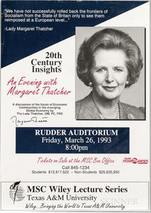 Thatcher, Margaret (1925-2013) Signed Poster, 1993.