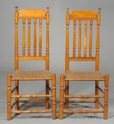 Pair of Maple Bannister-back Side Chairs