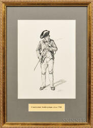 Framed Original Don Troiani Pen and Ink Study of a Continental Artilleryman