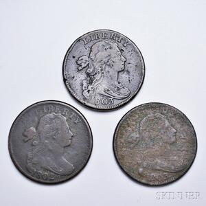 Three Draped Bust Large Cents