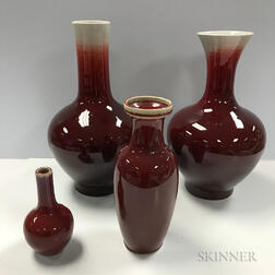 Four Flambe-glazed Vases